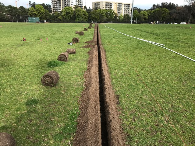 Sydney Irrigation system using a turf cutter