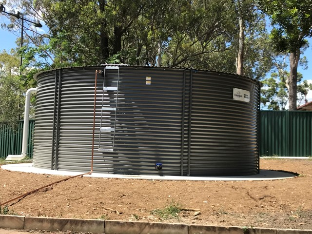 Rainwater tank for irrigation system in Sydney high school